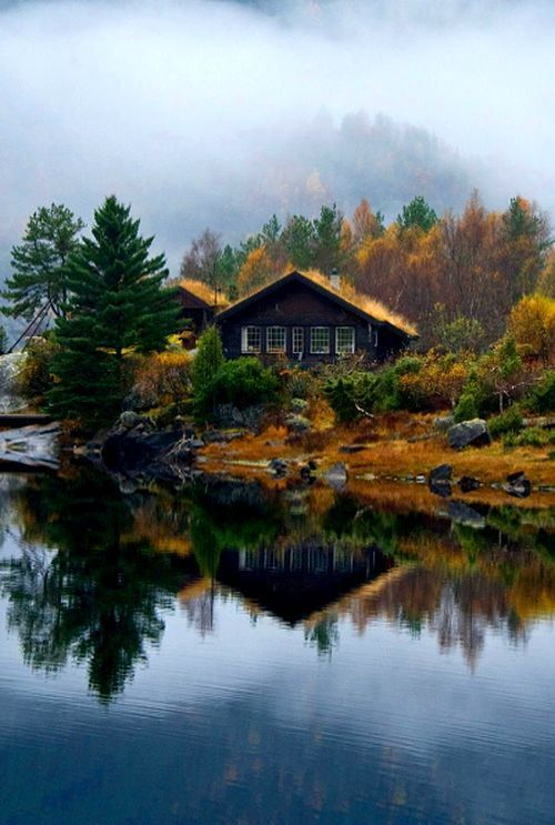 House on Lake Movatnet, in the municipality of Levanger in Nord-Trondelag county, Norway