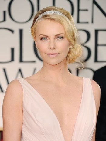 Charlize Theron- Golden Globes 2012. Love her hair!