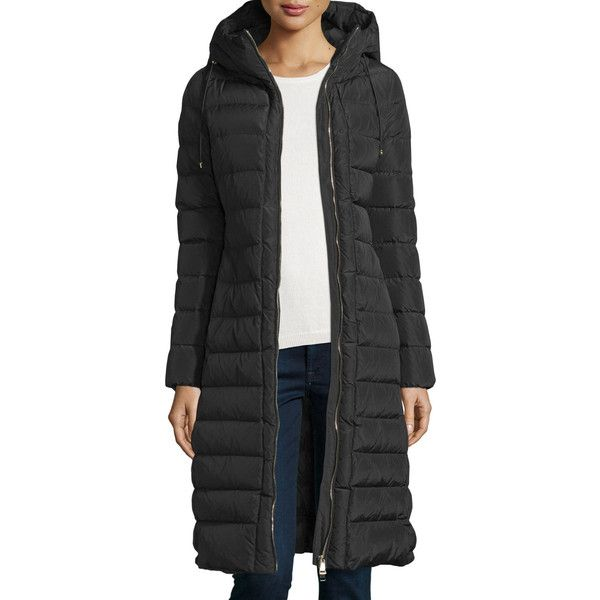 Moncler Imin Long Quilted Puffer Coat ($1,490) ❤ liked on Polyvore featuring outerwear, coats, black, tie belt, long sleeve coat, moncler coats, long quilted coat and long coat