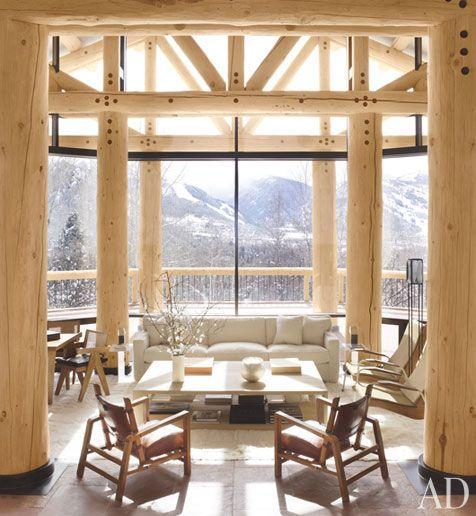 Aspen Ski ChaletMountain, Dreams, The View, Living Room, Ski House, Architecture Digest, Wood Beams, Logs Cabin, Aspen