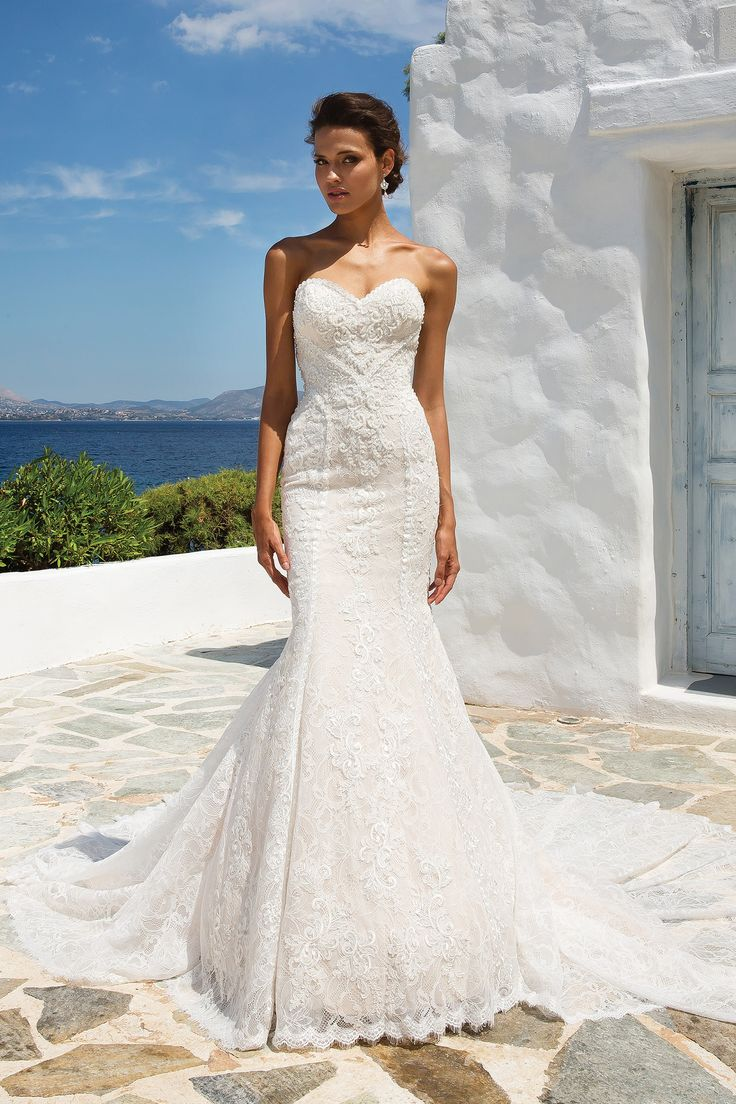 Simple Beaded Geometric Lace Fit and Flare Gown with Sweetheart Neckline Wedding dresses The White