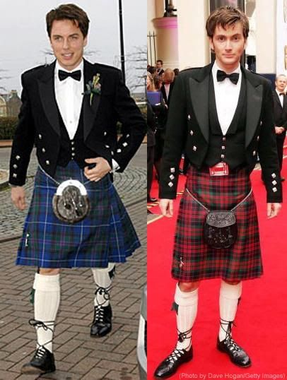 John Barrowman and David Tennant in Kilts!!--> Whaaaat?! This should have been in a Doctor Who episode!