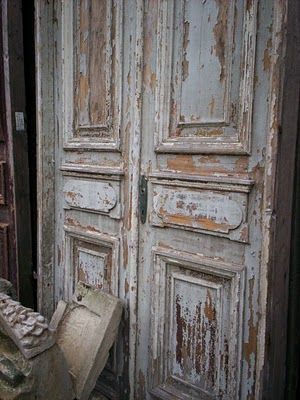 Love these doors and the distressed french blue paint!