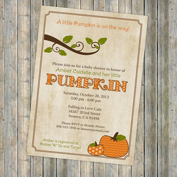 pumpkin baby shower invitations baby  by freshlysqueezedcards, $13.00