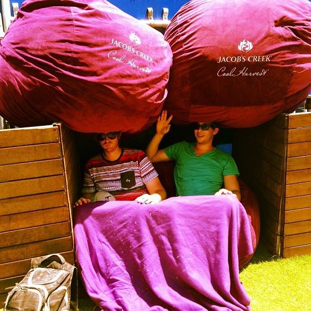 Take cover with a KloudSac Beanbag! It's getting too hot here at the Australian Open 2014 in Melbourne.