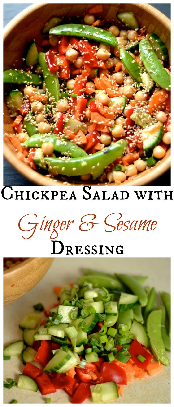 Chickpea Salad with Ginger and Sesame Dressing