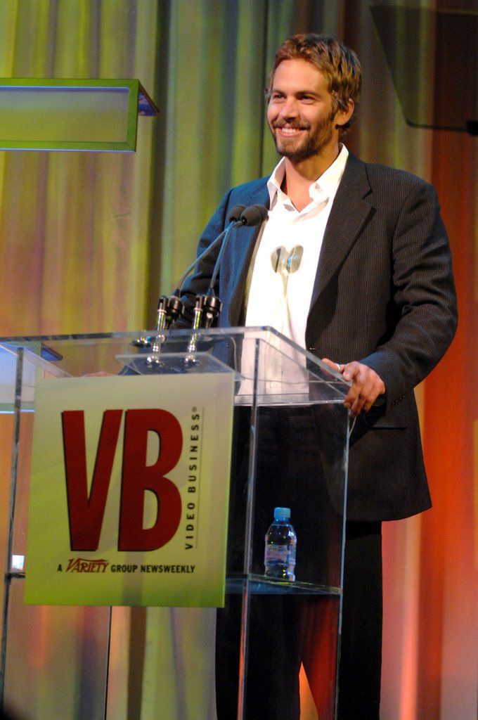 Paul Walker spoke onstage at the Video Business Hall of Fame event in December 2006.