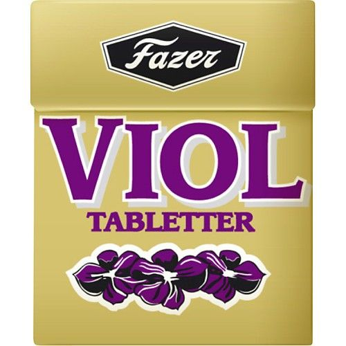 Tablets with violet flavor, from Fazer.