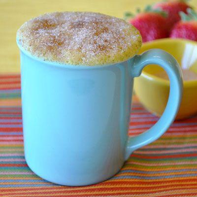 Doughnut Mug Cake - cooks in 90 seconds. Ingredients: butter, all-purpose flour, egg yolk, sugar, milk, baking powder, nutmeg. by Land O'Lakes