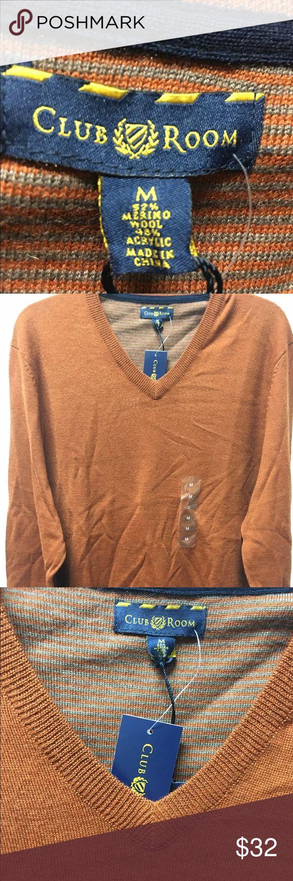 Club Room Burnt Orange Wool Blend NWT Wool Blend Sweater Club Room Sweaters V-Neck