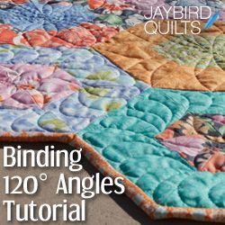 How to Bind 120° Angles Tutorial | Jaybird Quilts   Great way for a novice to learn or for a quick refresher for the rest of us.