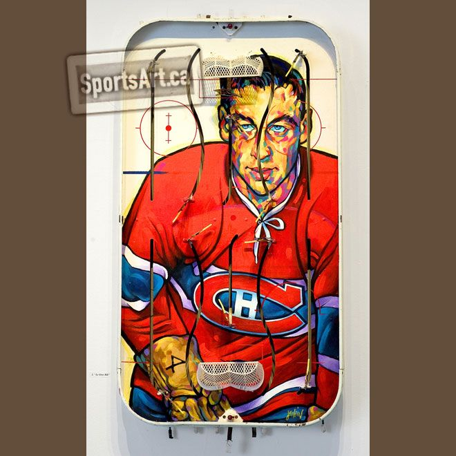 """""""Le Gros Bill"""" - Jean Beliveau table hockey painting by Anthony Jenkins."""