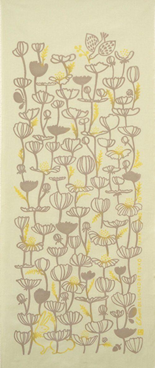 Japanese Tenugui Cotton Fabric Flower Floral by JapanLovelyCrafts