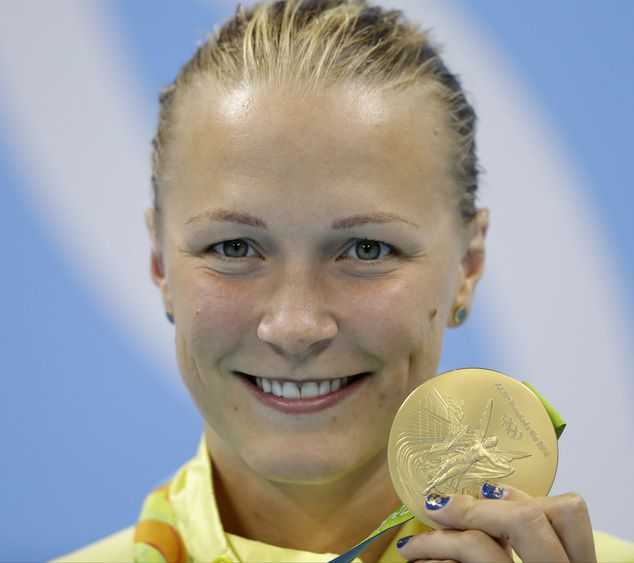 Sarah Sjostrom, from Sweden, with the gold medal won in the 100m. butterfly at Rio 2016
