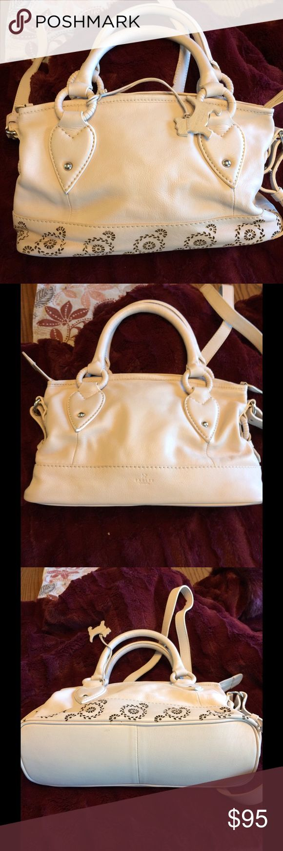Beautiful off white small Satchel/Crossbody SALE This is in great condition with no visible signs of stains or marks.  Has Crossbody straps and is a very soft leather.  Radley of London is a well know Handbag Designer Radley of London Bags Satchels
