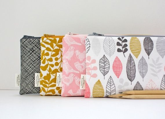 Zipper Pouch Modern Nature Color Leaves Birds Pencil by AppleWhite