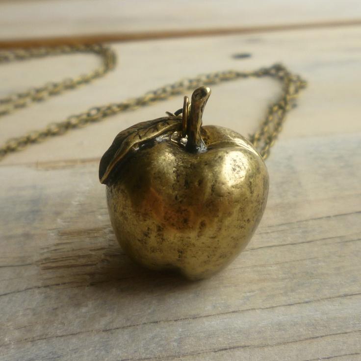 Apple Necklace ... Vintage Fruit Harvest Orchard Charm in Antique Gold. £14.00, via Etsy.