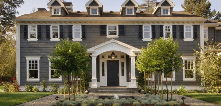 This is my exterior house color scheme gray house white trim black door victorian home - Black house with white trim ...