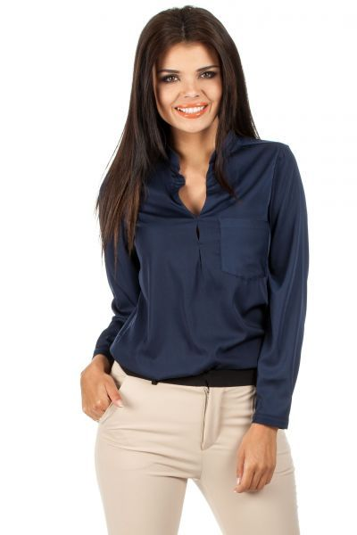 Dark blue blouse slightly translucent