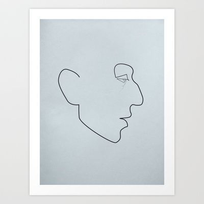 One line Serge Gainsbourg Art Print by quibe - $19.76