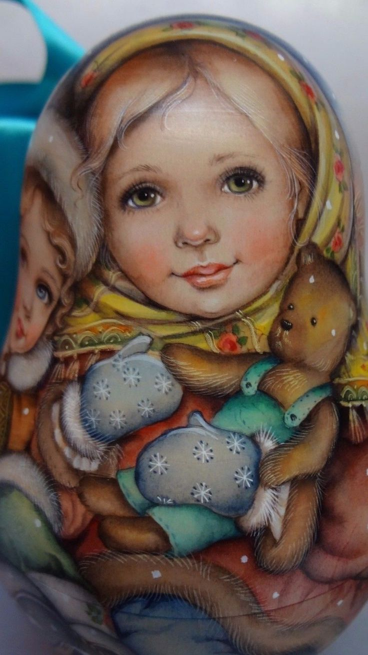 1 kind art watercolor roly poly matryoshka Russian author doll Matthew and Mary | eBay