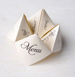 Origami Menu / place-cards at weddings.  Even the program! / Dinner party invite / Birthday.
