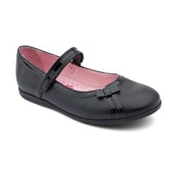 Black Leather Girls Shoes