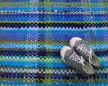 T-Shirt Rug, Rag Rug, Handwoven Rag Rug, Recycled T-Shirts, Plaid Rag Rug, Eco Friendly Rug, Blue and Green Rug, Rag Rug Runner