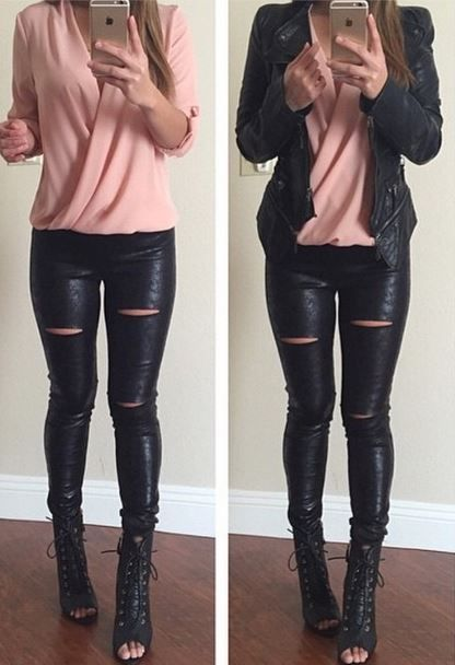 I love the look of a feminine top under a rocking leather jacket!