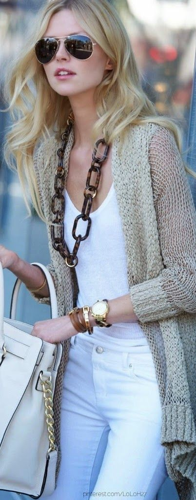 White Amazing Jeans with T-Shirt, Accessories, Beige Cardigan and Handbag, Stylish Combination for Ladies