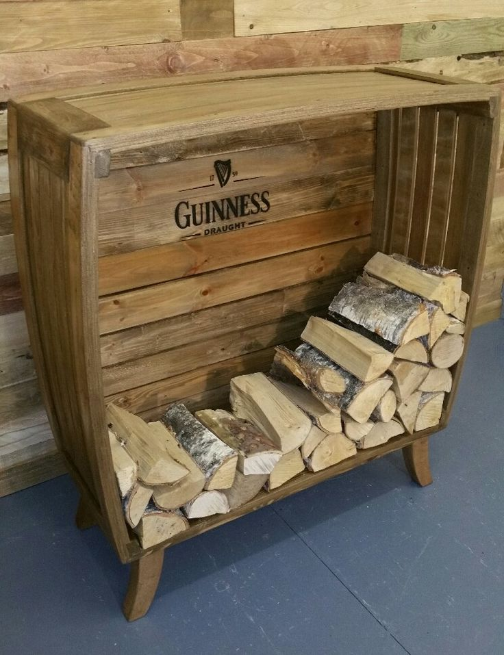 Cool indoor log store . reclaimed timber. By uniquely your's Lancashire.