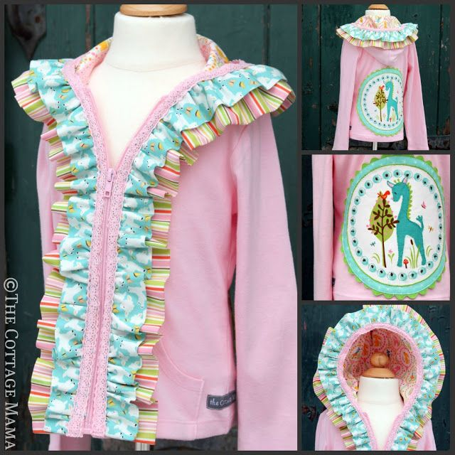 Embellished Ruffle Hoodie Tutorial - pass on the back applique, but super cute ruffles in the front.