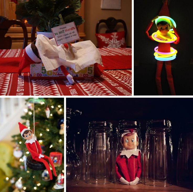 Silly Holiday Elfcapades - Elf on the Shelf ideas...I like the hiding under a glass! Would take the kids a while to find him.