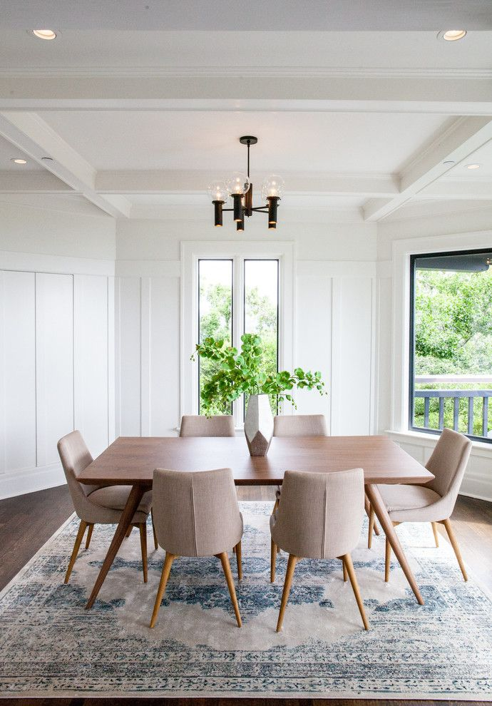 Transitional Dining Room White Walls Dark Pendant Soft Toned Mid