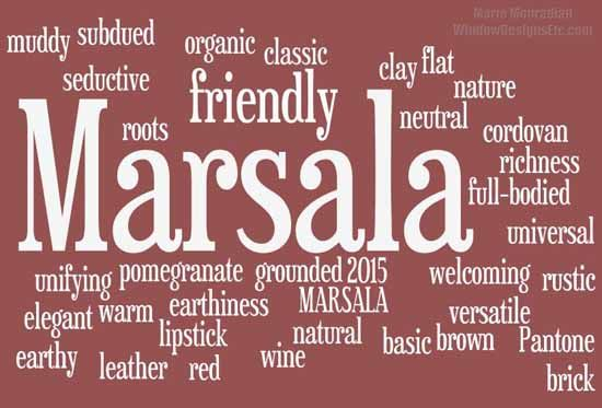 A collection of descriptive words found on social media from interior designers across the country.#Marsala, Pantone 2015 Color of the Year