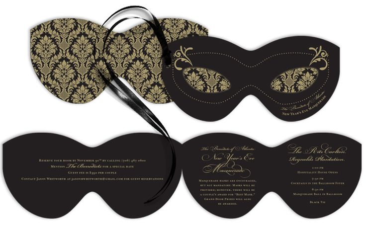 Invitations in the shape of masks (maybe not folding) to be sent to the board)