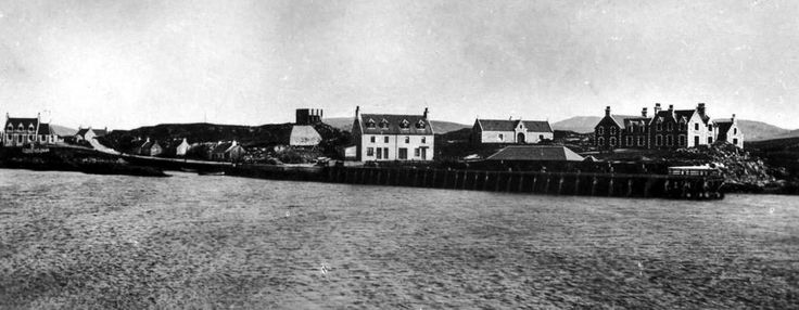 Old photograph of the harbour in Lochboisdale, South Uist, Outer Hebrides, Scotland