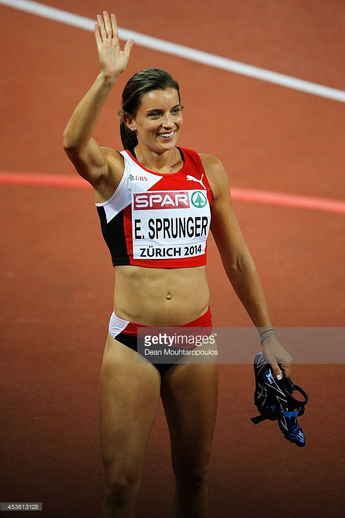 Ellen Sprunger of Switzerland, waves to the crowd after competing in the Women's Heptathlon 200 metres during day three of the 22nd European Athletics Championships at Stadium Letzigrund on August 14, 2014 in Zurich, Switzerland.