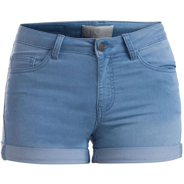 PIECES Just Jute Washed Shorts ($19) ❤ liked on Polyvore featuring shorts, bottoms, short, pants, light blue denim, fold over shorts, short shorts and light blue shorts