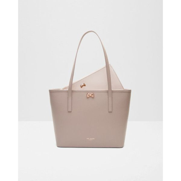 Ted Baker Micro bow small leather shopper bag Mid (8,970 DOP) ❤ liked on Polyvore featuring bags, handbags, ted baker handbags, bow handbag, ted baker, leather tote shopper and genuine leather purse