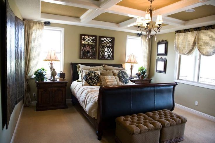 Dark Brown Bedroom Curtains -14 Master Bedroom Decorating Ideas With Sleigh Bed