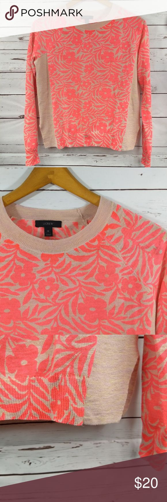 "J Crew XS Womens Spring Lightweight Sweater This great spring sweater is in excellent used condition. The inside ""care instructions"" tag has been removed.  It is a lightweight knit, perfect for spring or cool summer nights!  The floral pattern is a bright orange/salmon/pink color with side panels of tan. Side slits on both sides are 4""  Item Dimensions, Compare to a favorite item in your own closet to ensure a good fit!  Arm pit to armpit: 20""  Shoulder to hem: 21.5""  Arm length: approx. 22"""