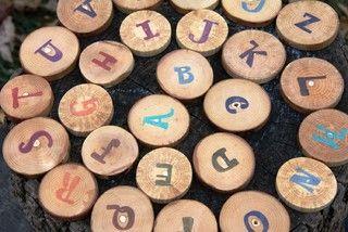 make alphabet wood blocks from tree limbs sliced up