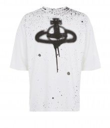 White Baggy T-Shirt Spray Orb