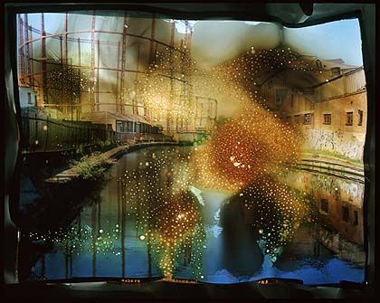 Catherine Yass, damage / burn / canal (2005) - Aftermath, destruction of photo, effect of the elements