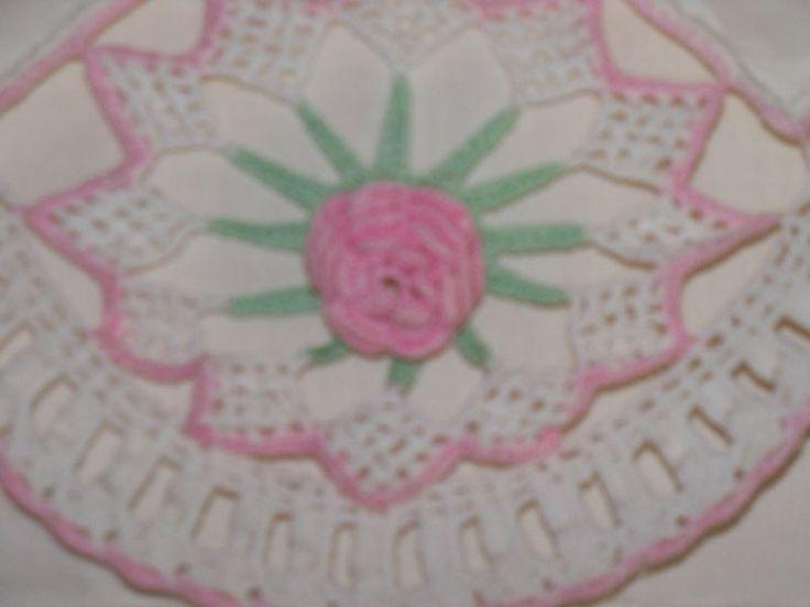 Deslumbrante Almofada Crochê Bordado Vintage caso De Rosas Cor De Rosa Padrão intricado