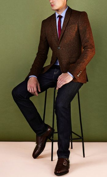 A Smart Casual Combination Of A Brown Wool Sportcoat And Black Jeans Can Maintain Its Relevance In Many Different Circumstances Add Dark Brown Leather