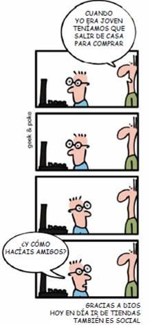 Caricatura sobre la nueva forma de comprar en Internet