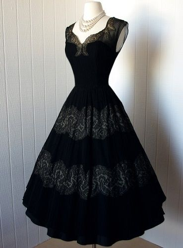 1950's exquisite nude illusion, scalloped lace, full skirt, cocktail party dress. A Design House Hannah Troy Original.
