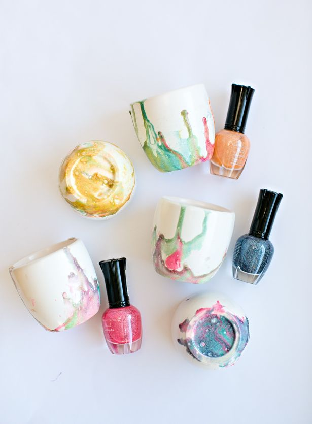 hello, Wonderful - DIY KID-MADE MARBLED NAIL POLISH BOWLS